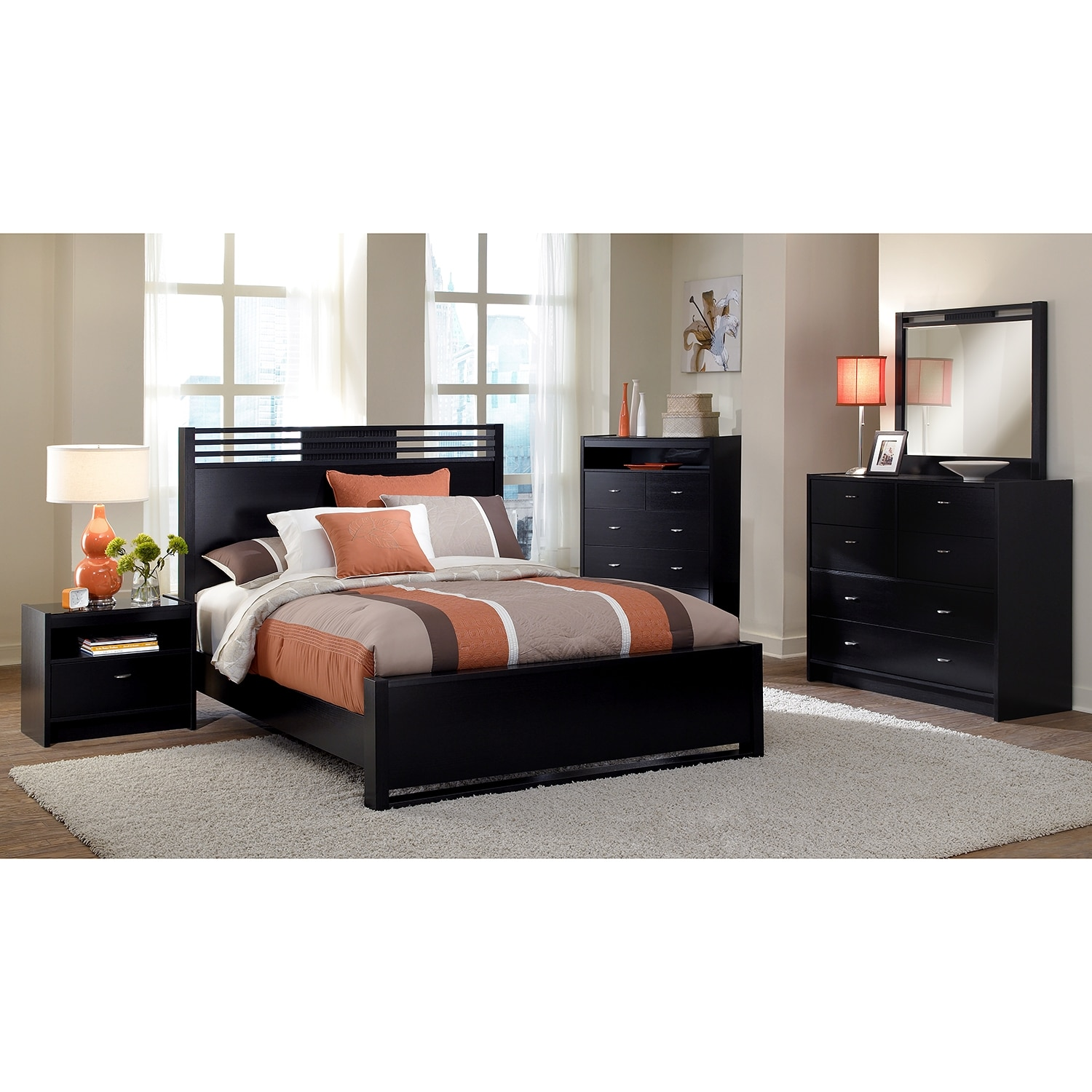 Bally Espresso 7-Piece Queen Bedroom Set with Chest - Black ...