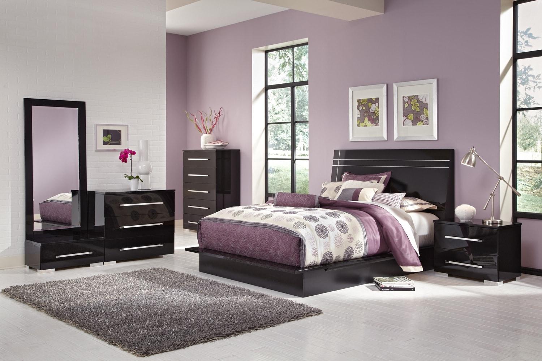 Bedroom Furniture - Dimora 7-Piece King Panel Bedroom Set - Black