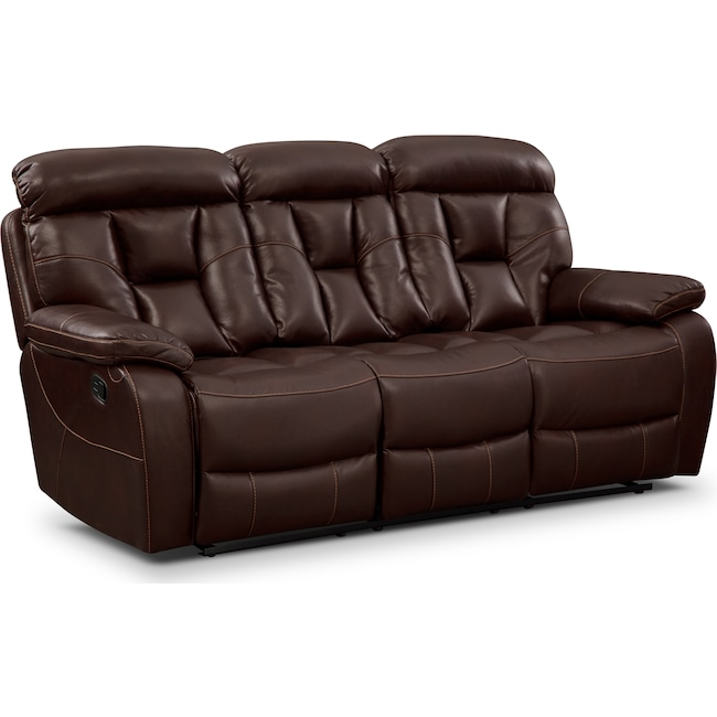 Living Room Furniture - Dakota Reclining Sofa - Java
