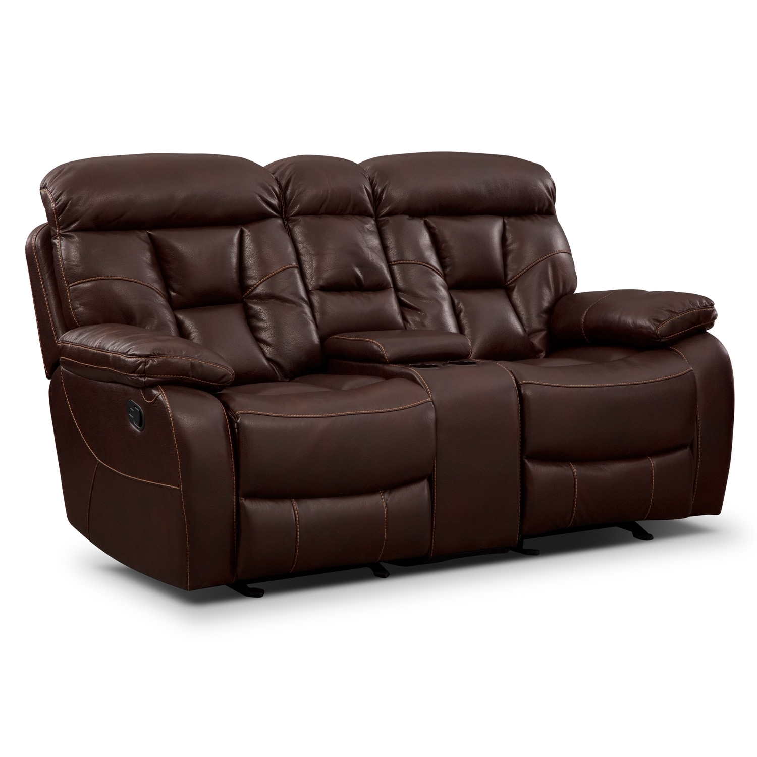 ... Reclining Loveseat with Console - Java. Hover to zoom  sc 1 st  Value City Furniture & Dakota Gliding Reclining Loveseat with Console - Java | Value City ... islam-shia.org
