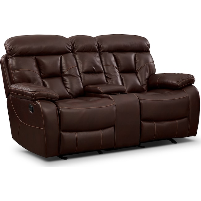 Living Room Furniture - Dakota Gliding Reclining Loveseat with Console - Java