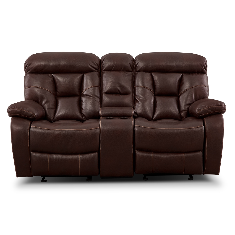 Click to change image.  sc 1 st  Value City Furniture & Dakota Gliding Reclining Loveseat with Console - Java | Value City ... islam-shia.org