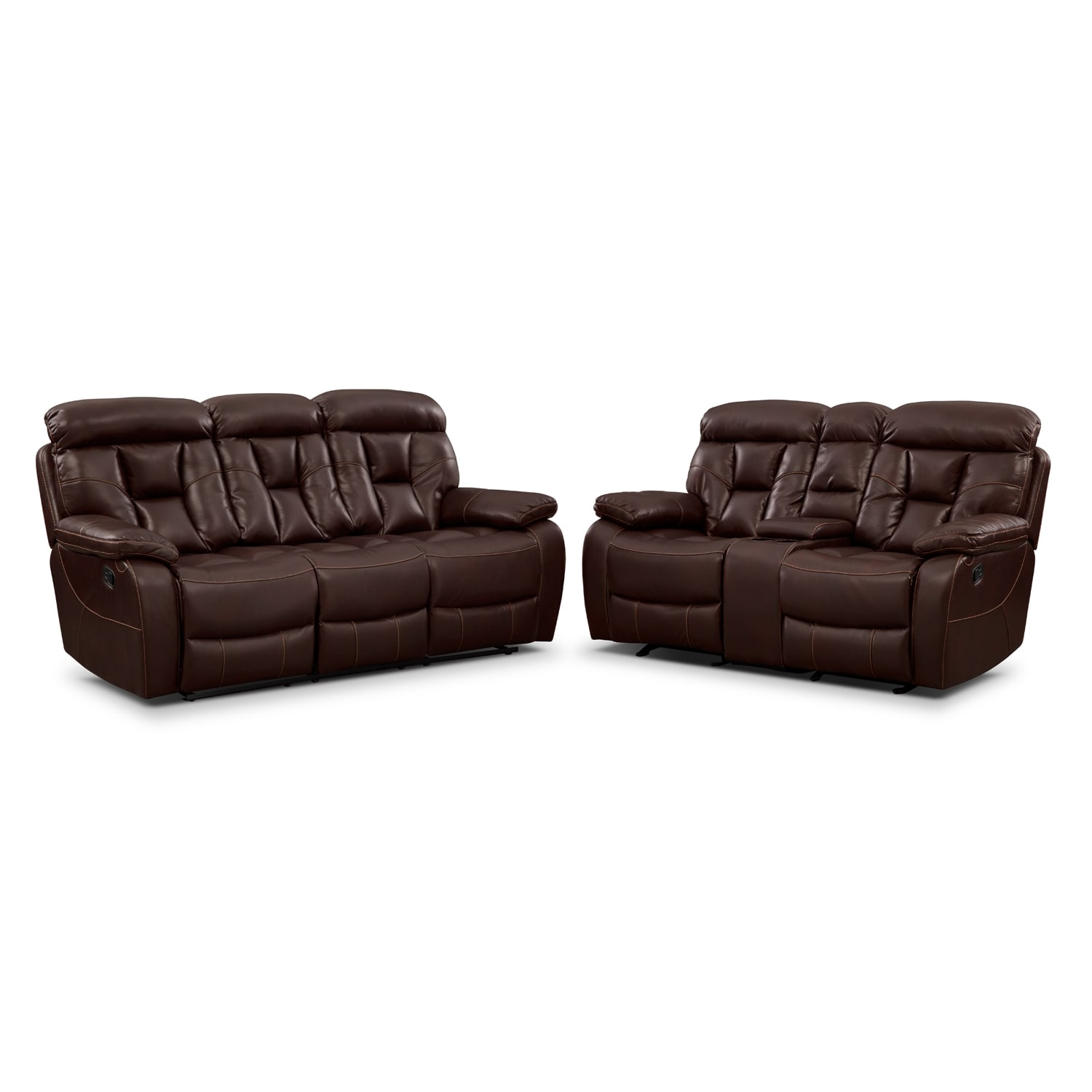 Dakota Reclining Sofa and Gliding Loveseat Set - Java by One80  sc 1 st  Value City Furniture : gliding loveseat recliner - islam-shia.org