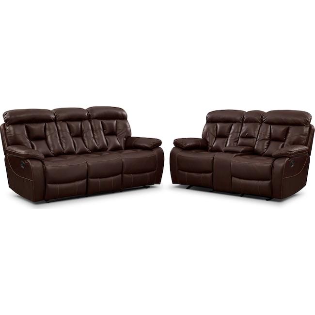 Living Room Furniture - Dakota Reclining Sofa and Gliding Loveseat Set - Java