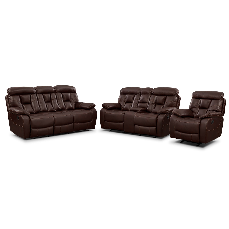 Living Room Furniture - Dakota 3 Pc. Reclining Living Room