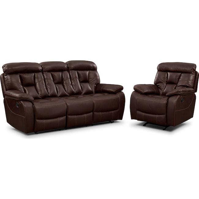 Living Room Furniture - Dakota Reclining Sofa and Glider Recliner Set - Java