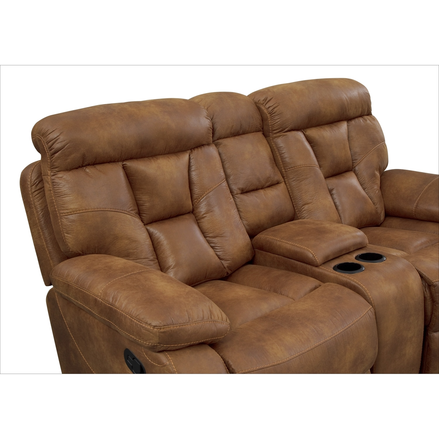 Click to change image.  sc 1 st  Value City Furniture & Dakota Gliding Reclining Loveseat with Console - Almond | Value ... islam-shia.org
