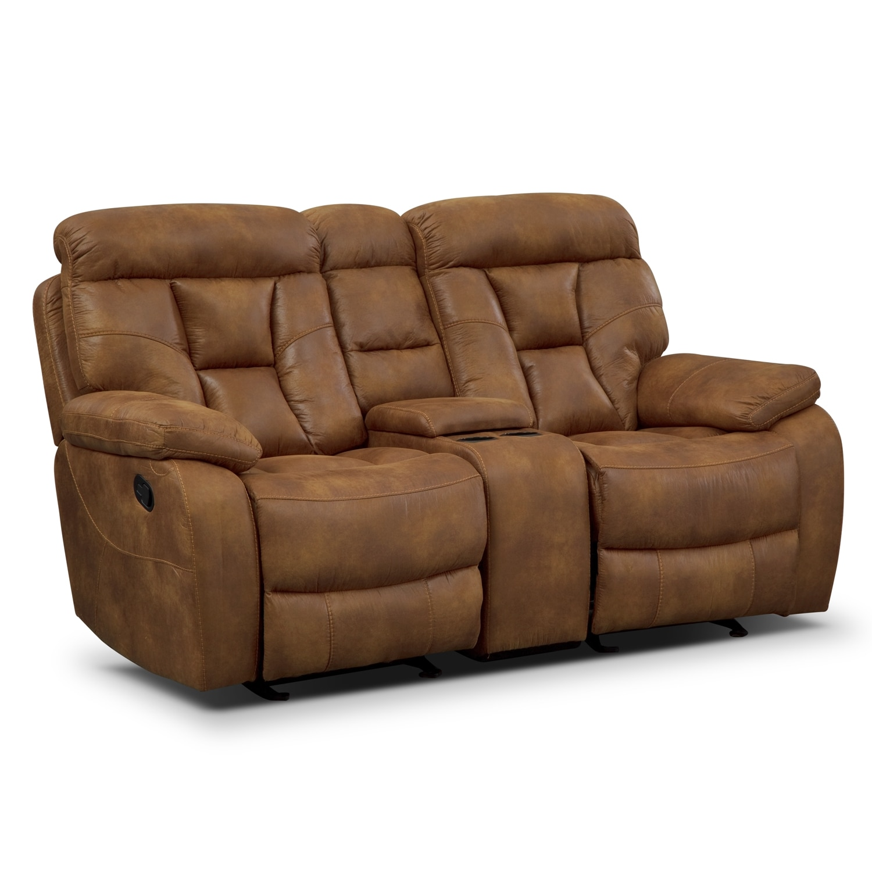Living Room Furniture - Dakota II Glider Reclining Loveseat with Console