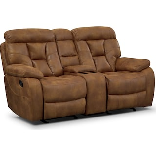 Dakota Gliding Reclining Loveseat with Console - Almond