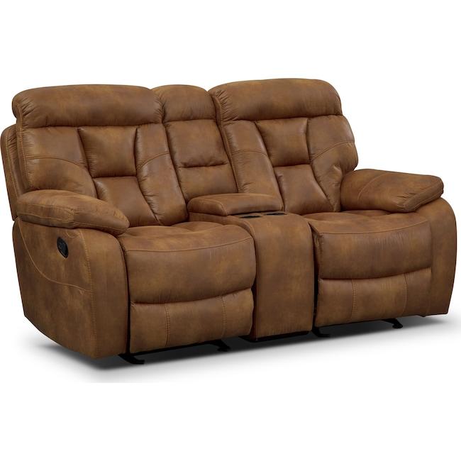 Living Room Furniture - Dakota Gliding Reclining Loveseat with Console - Almond