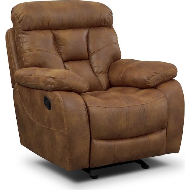 Living Room Furniture - Dakota Glider Recliner - Almond