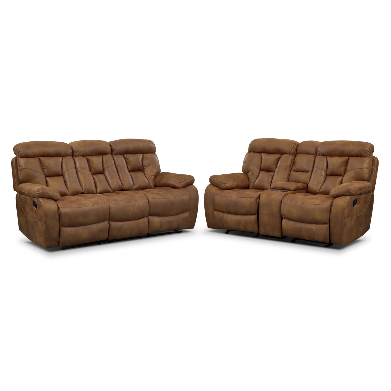 Dakota Reclining Sofa And Glider Loveseat Set Almond Value City Furniture