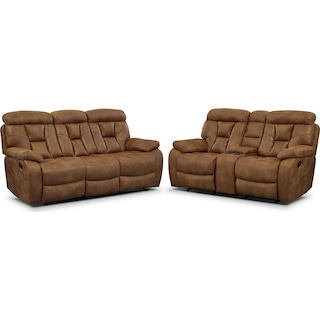 Dakota Reclining Sofa and Glider Loveseat Set - Almond