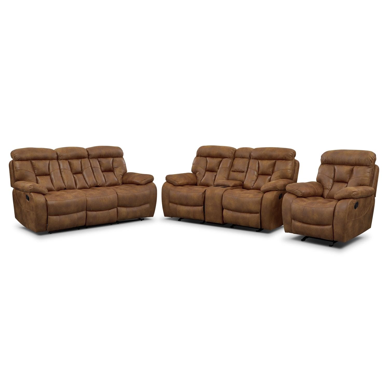 dakota reclining sofa gliding loveseat and glider recliner set almond by one80