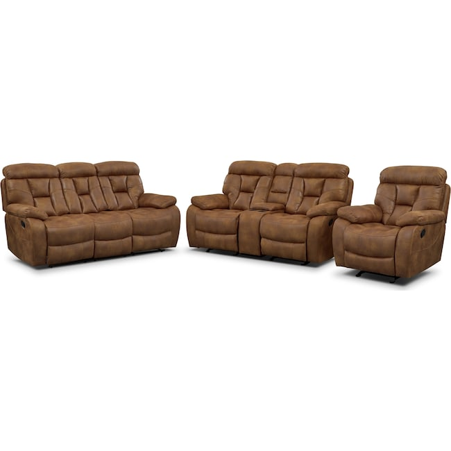 Living Room Furniture - Dakota Reclining Sofa, Gliding Loveseat and Glider Recliner Set - Almond