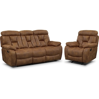 Dakota Reclining Sofa and Glider Recliner Set - Almond