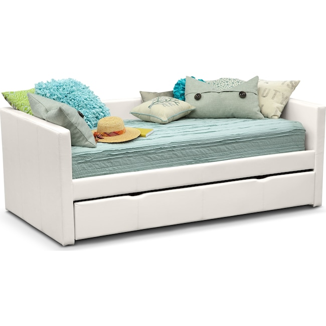 Kids Furniture - Carey Twin Daybed with Twin Twin Trundle - White