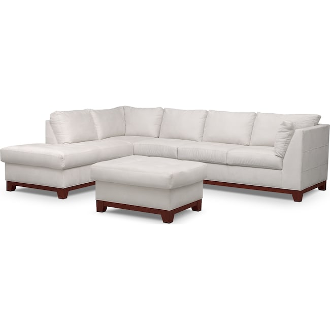 Living Room Furniture - Soho 2-Piece Sectional with Left-Facing Chaise and Ottoman - Cement