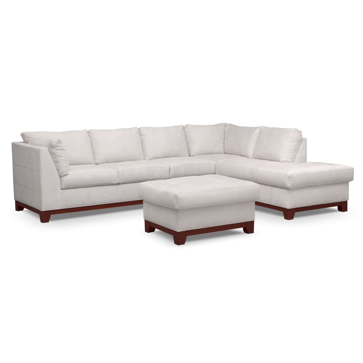 Soho 2-Piece Sectional with Right-Facing Chaise and Ottoman - Cement