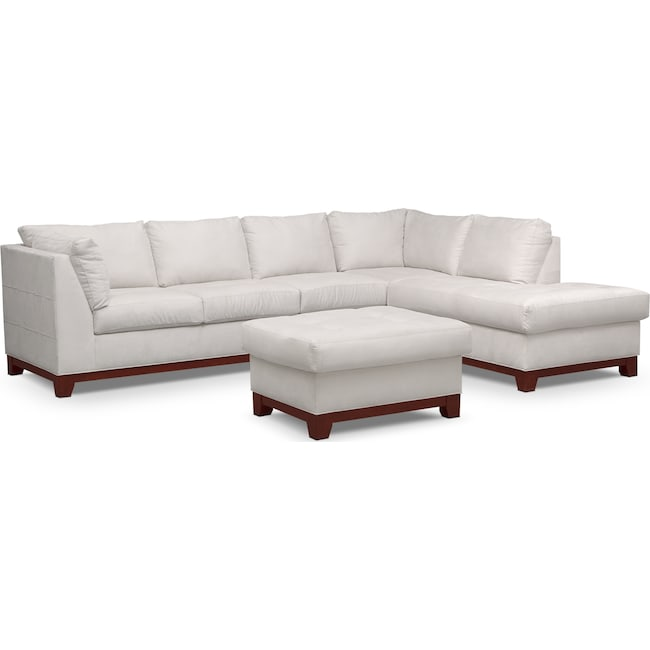 Living Room Furniture - Soho 2-Piece Sectional with Right-Facing Chaise and Ottoman - Cement