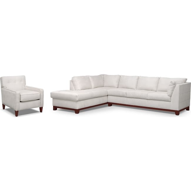 Living Room Furniture - Soho 2-Piece Sectional with Left-Facing Chaise and Chair - Cement