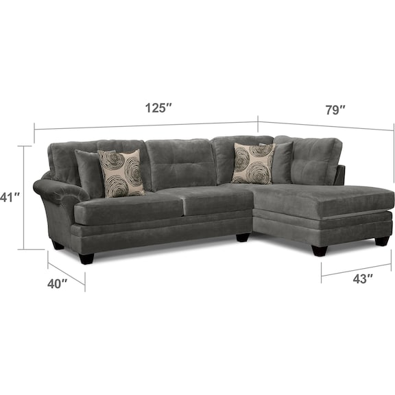 Living Room Furniture - Cordelle 2-Piece Right-Facing Chaise Sectional - Gray