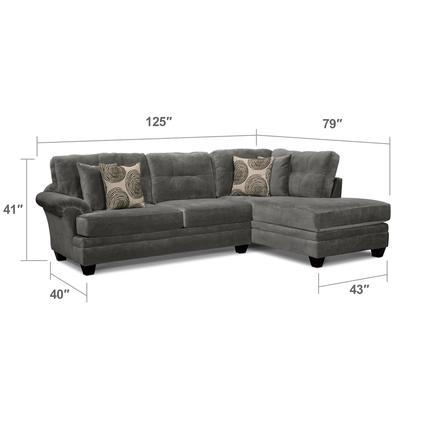 Living Room Furniture - Cordelle 2-Piece Right-Facing Chaise Sectional - Gray  sc 1 st  Value City Furniture : right chaise sectional - Sectionals, Sofas & Couches