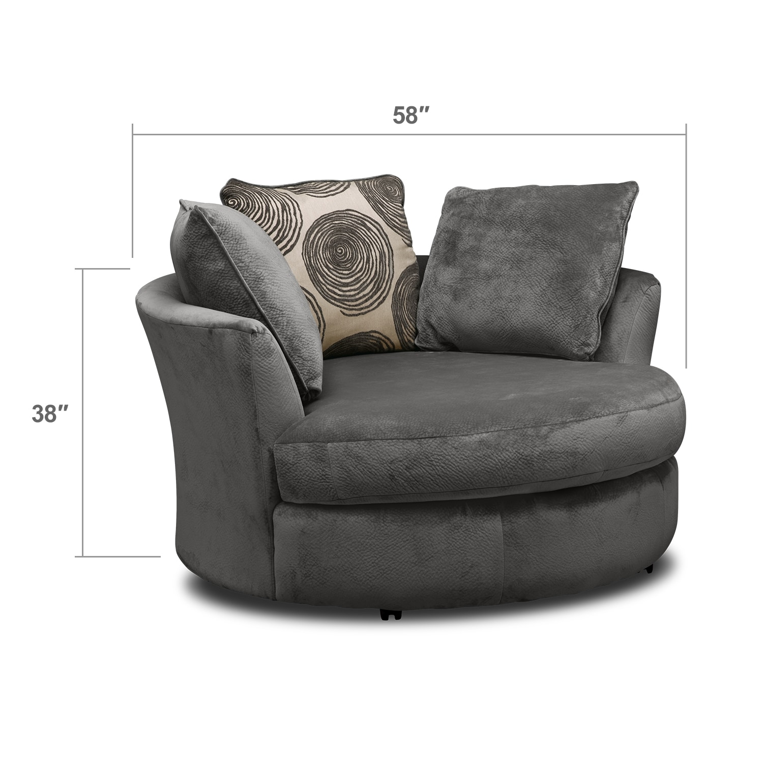Living Room Furniture - Cordelle Swivel Chair - Gray