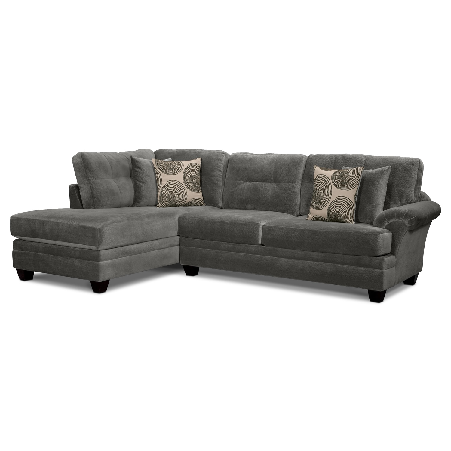 Living Room Furniture - Cordelle 2-Piece Left-Facing Chaise Sectional - Gray