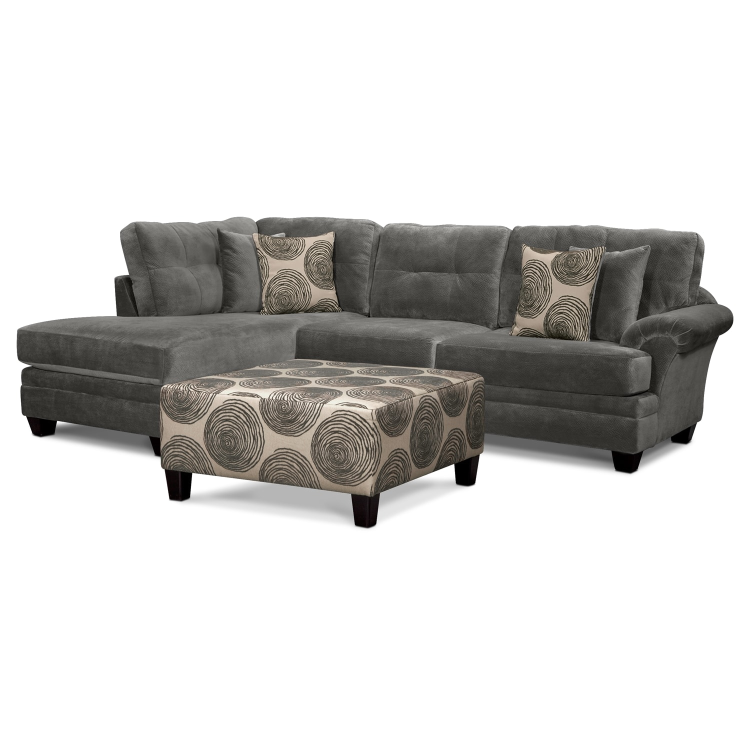 Living Room Furniture - Cordelle 2-Piece Left-Facing Chaise Sectional and Cocktail Ottoman Set - Gray