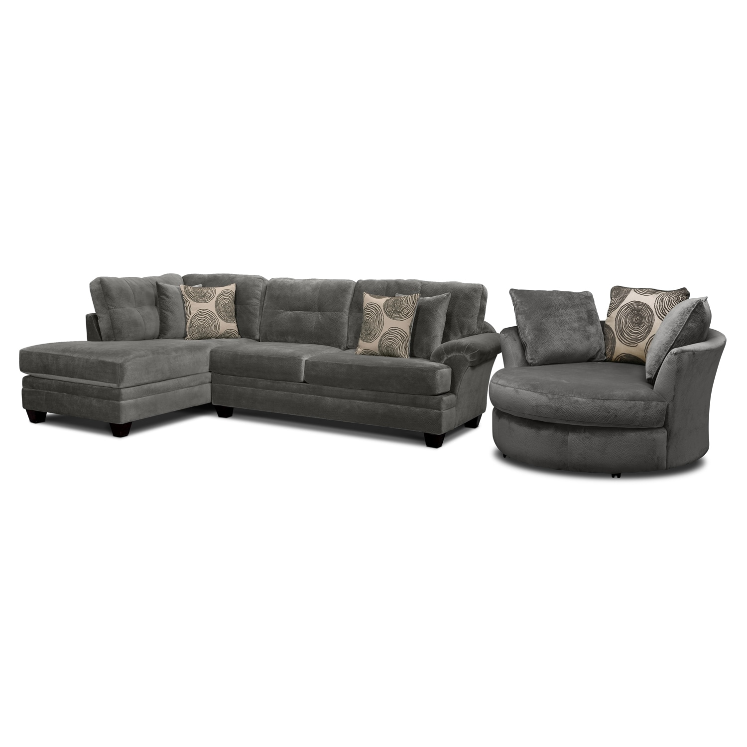 Cordelle 2 Piece Sectional With Left Facing Chaise And Swivel Chair Set    Gray