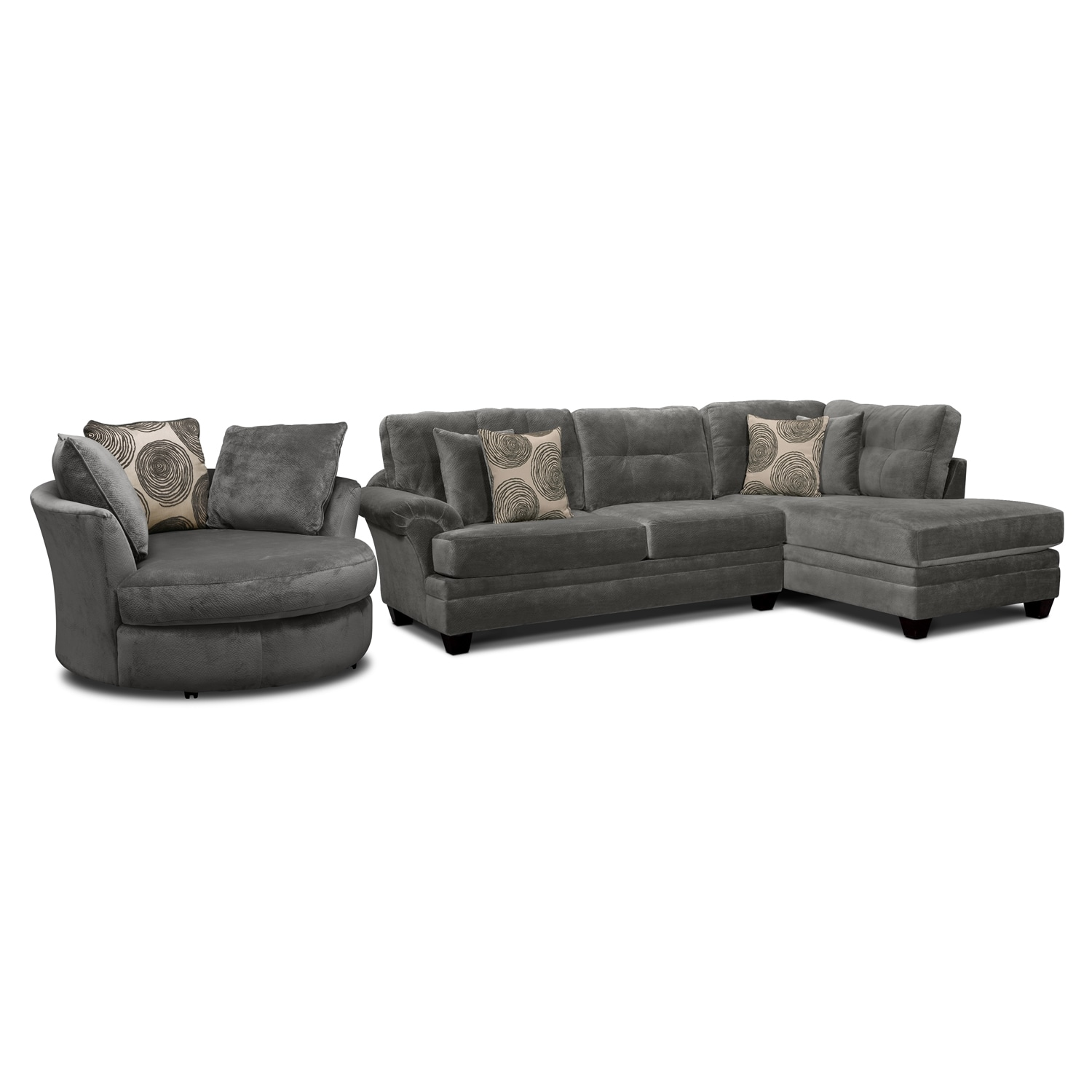 Cordoba Gray II 2 Pc. Sectional and Swivel Chair