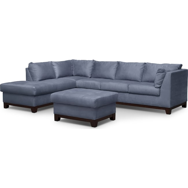 Living Room Furniture - Soho 2-Piece Sectional with Left-Facing Chaise and Ottoman - Steel