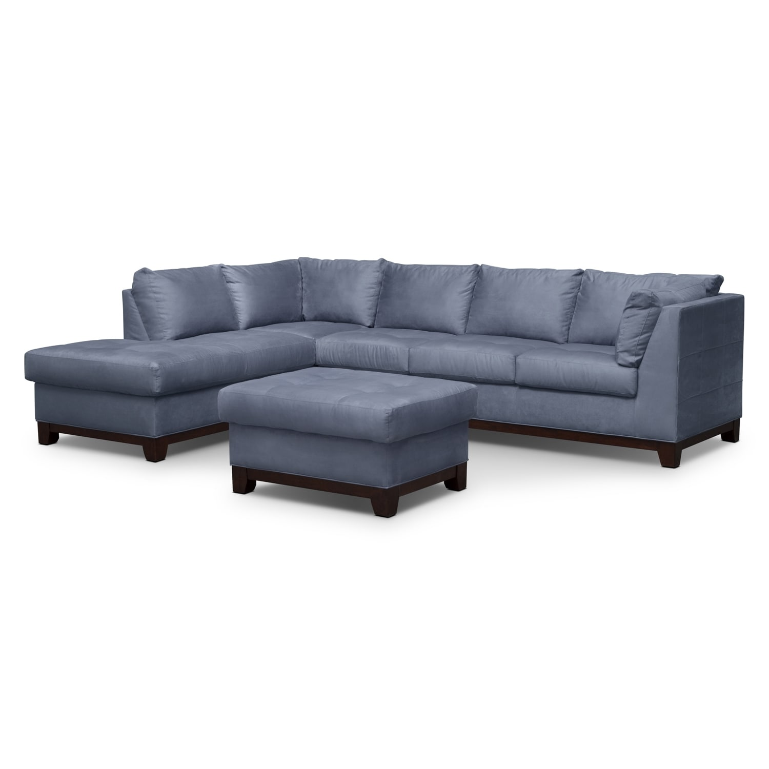 Soho 2 Piece Sectional With Left Facing Chaise And Ottoman   Steel