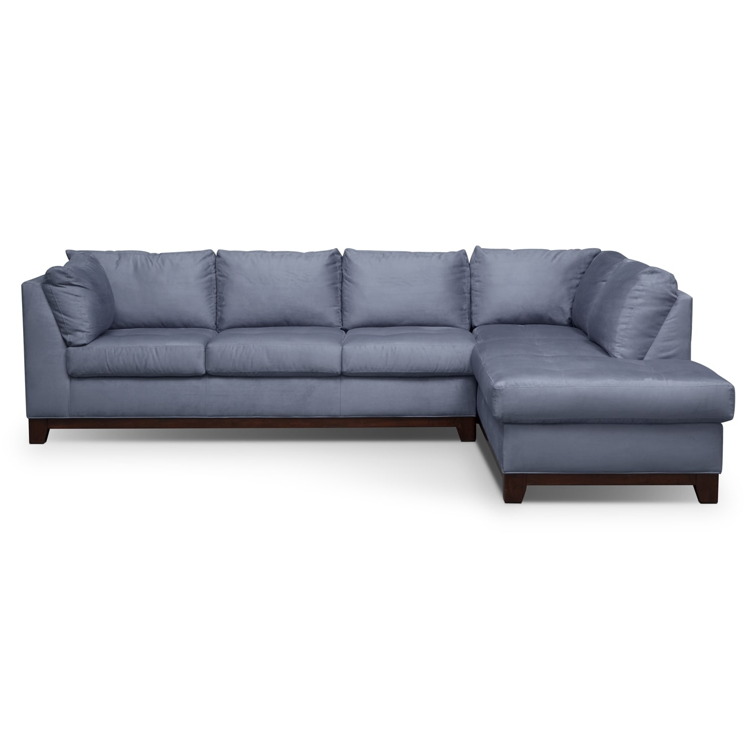 Soho 2 Piece Sectional with Right Facing Chaise Steel
