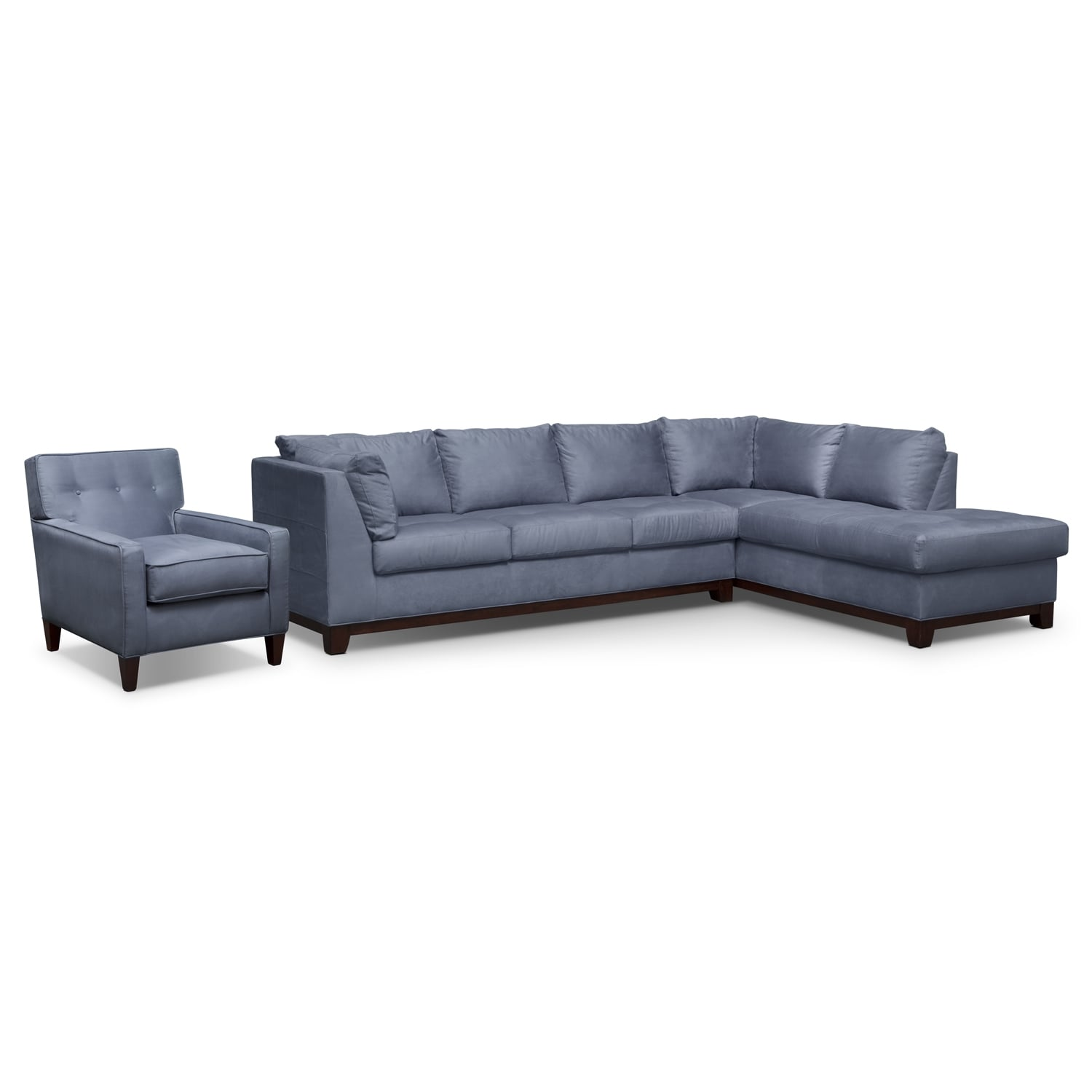 Living Room Furniture - Soho 2-Piece Sectional with Right-Facing Chaise and Chair - Steel