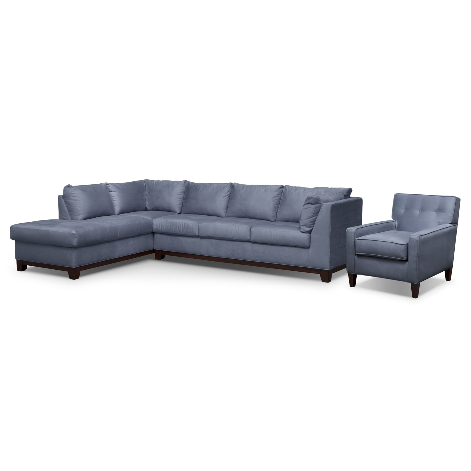 Soho 2-Piece Sectional with Left-Facing Chaise and Chair - Steel