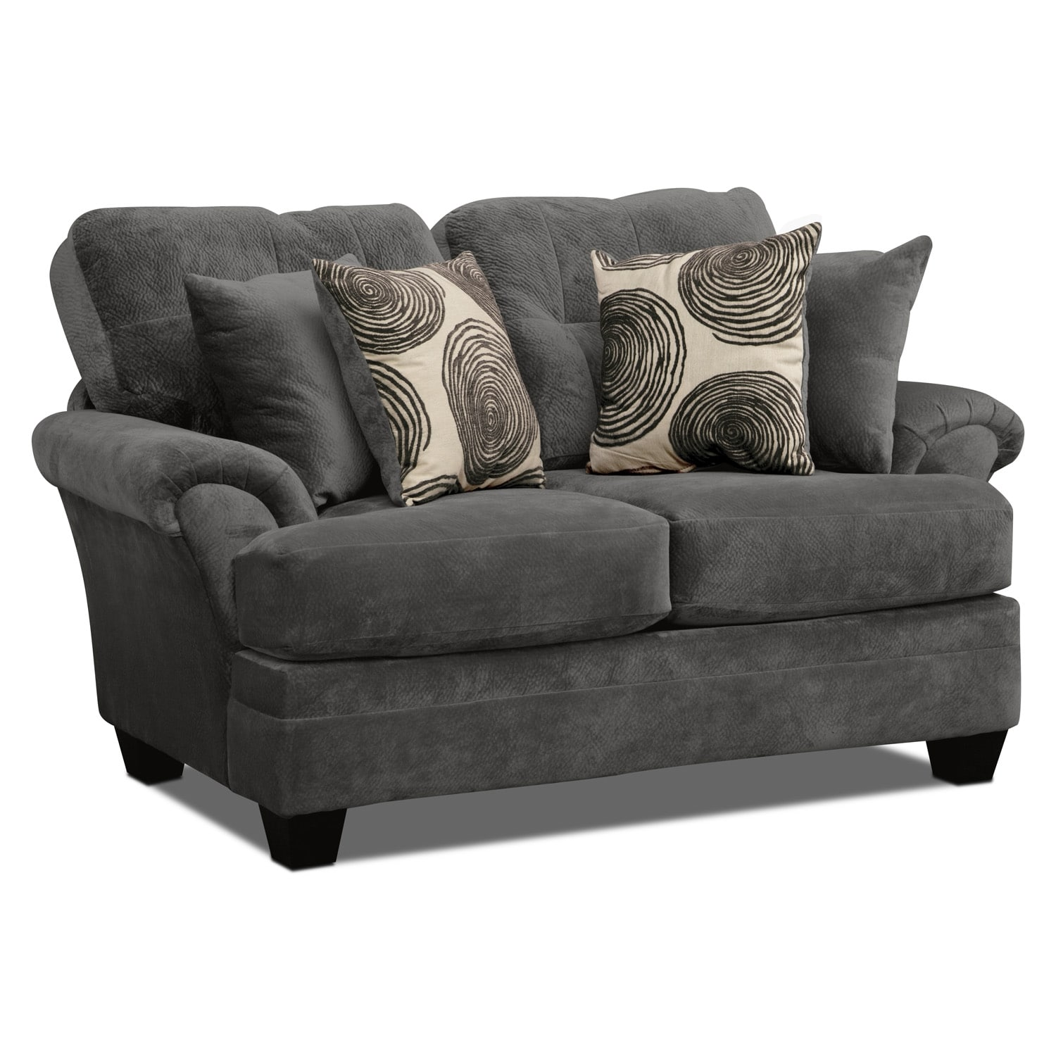 Cordelle Sofa Loveseat and Swivel Chair Set Gray