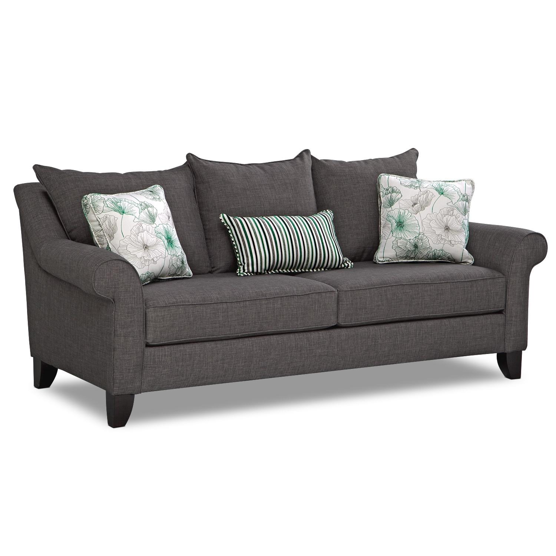 Jasmine Queen Memory Foam Sleeper Sofa - Charcoal