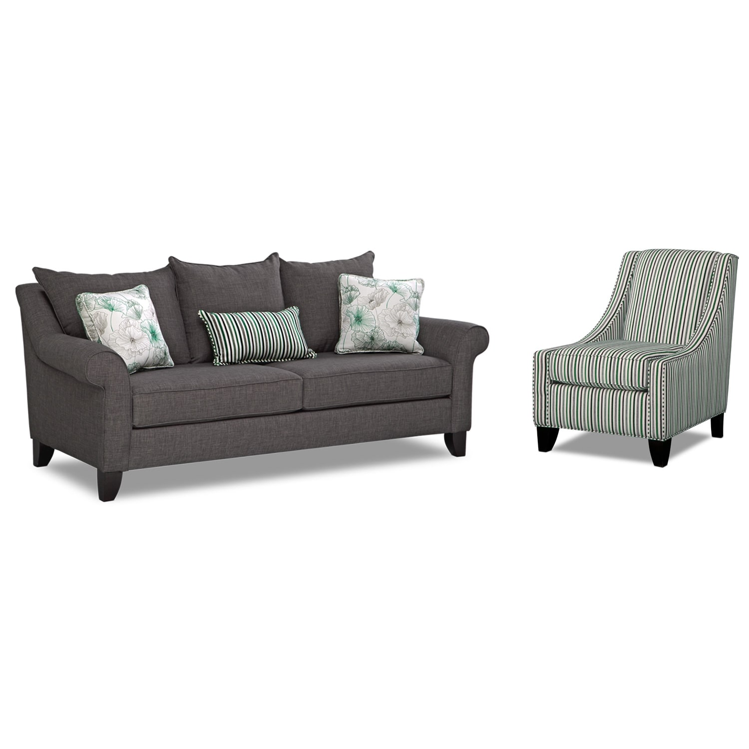 Living Room Furniture - Jasmine 2 Pc. Sleeper Living Room with Accent Chair and Memory Foam Mattress - Charcoal