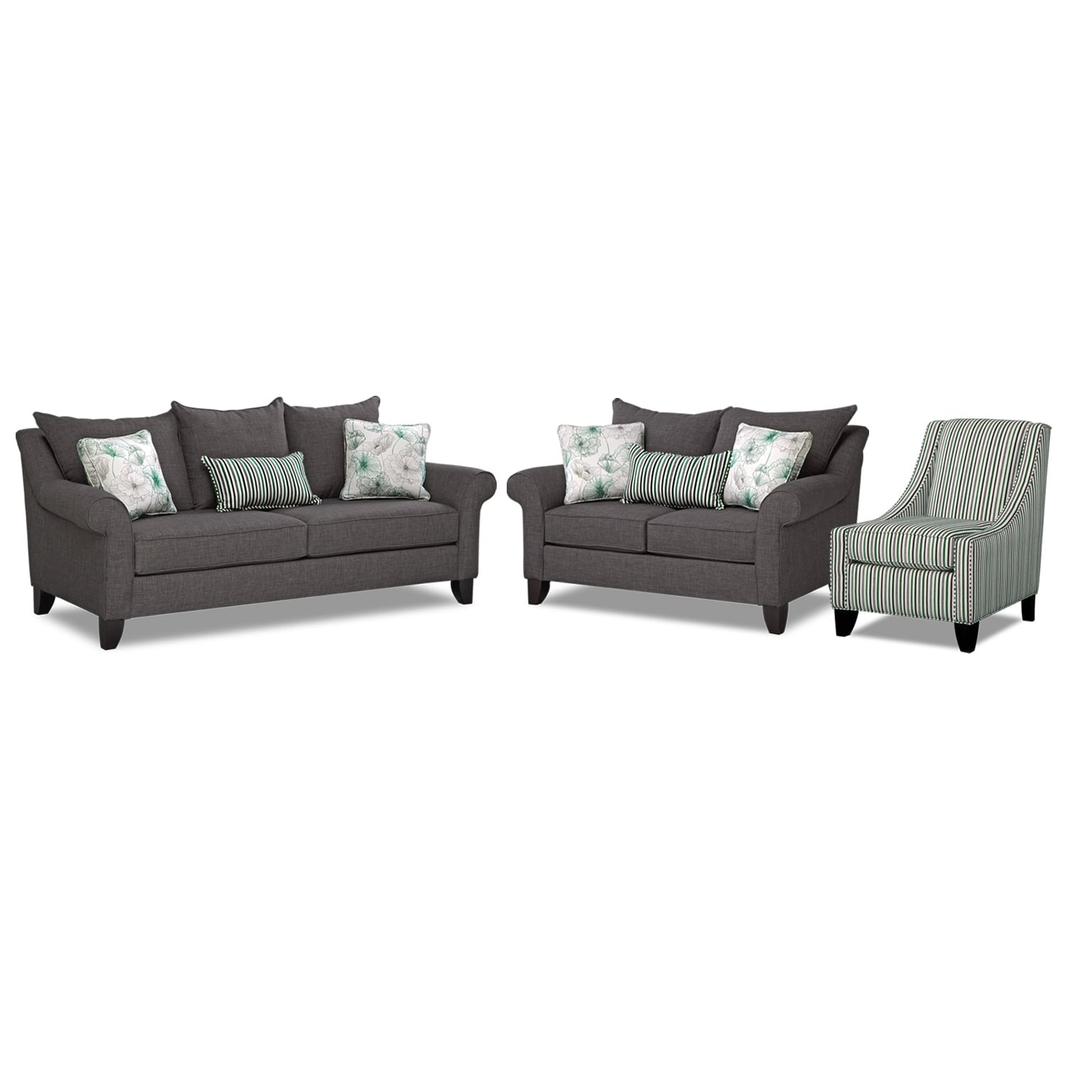 Jasmine 3 Pc. Sleeper Living Room with Accent Chair and Innerspring Mattress - Charcoal