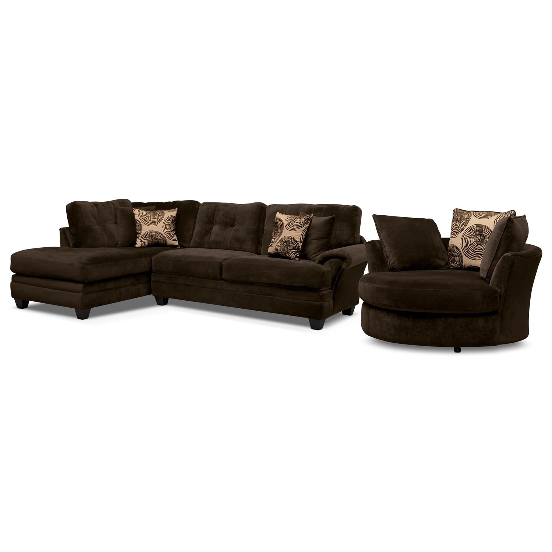 [Cordoba Chocolate II 2 Pc. Sectional (Reverse) and Swivel Chair]