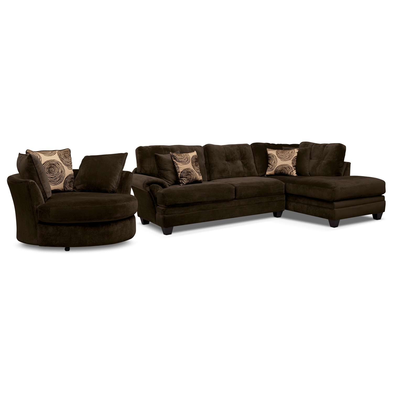 [Cordoba Chocolate II 2 Pc. Sectional and Swivel Chair]