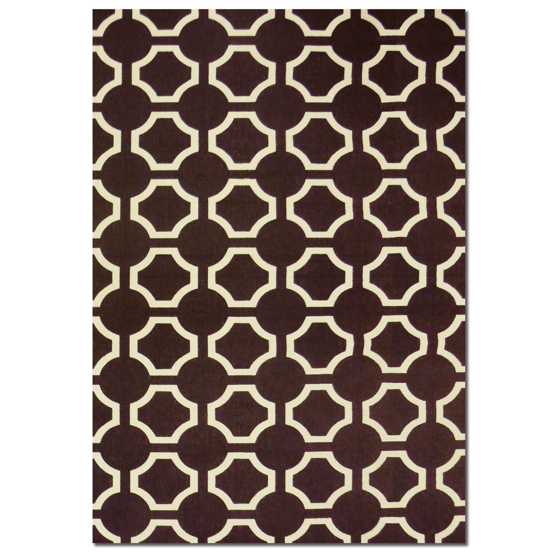 Rugs - Salon Brown Semi-Circle Area Rug (5' x 8')