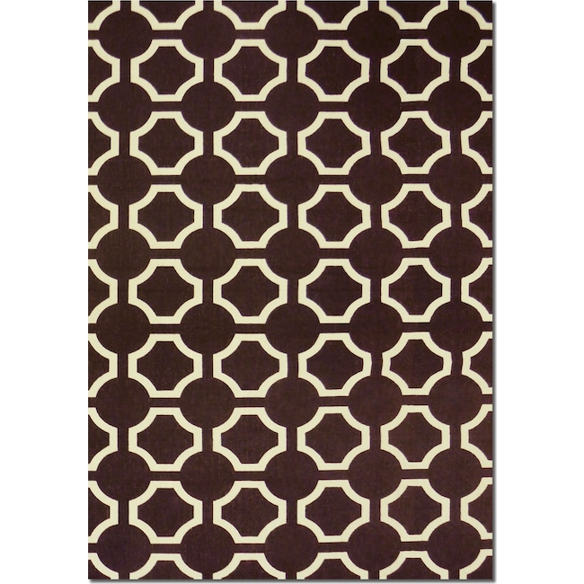 Rugs - Salon Brown Semi-Circle Area Rug (5' x 8')