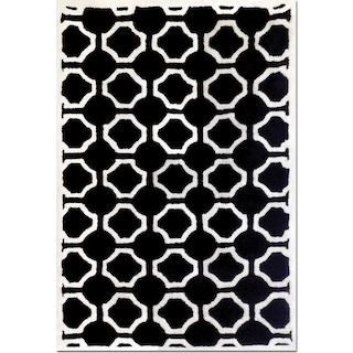 Lifestyle Semi-Circle 5' x 8' Area Rug - Black and White