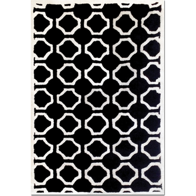Rugs - Lifestyle Semi-Circle 5' x 8' Area Rug - Black and White