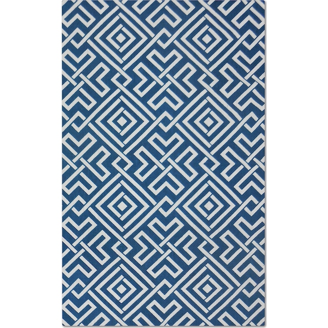 Rugs - Salon Blue Zigzag Area Rug (5' x 8')