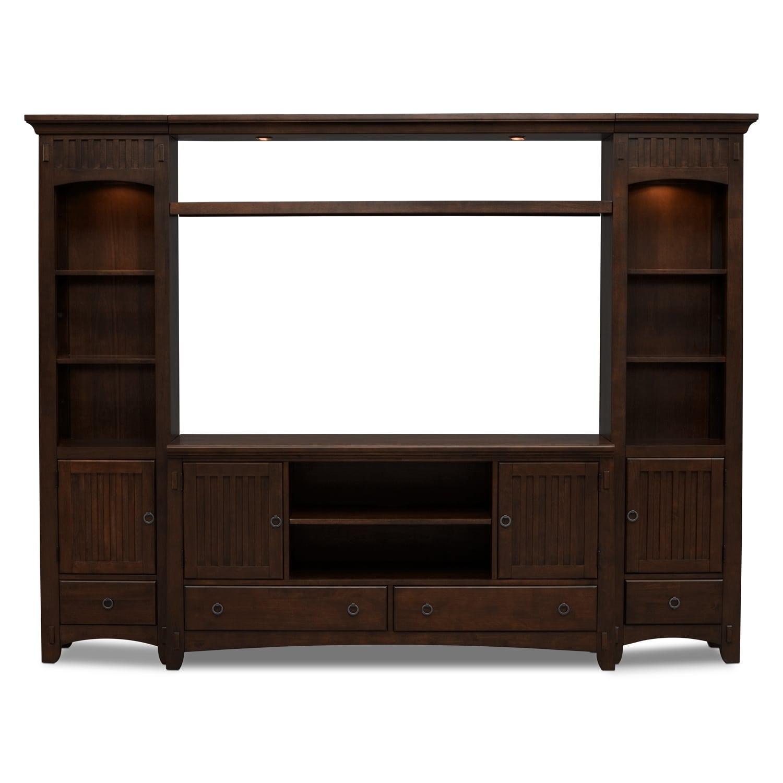 American Furniture Entertainment Center: Arts & Crafts 4-Piece Entertainment Wall Unit