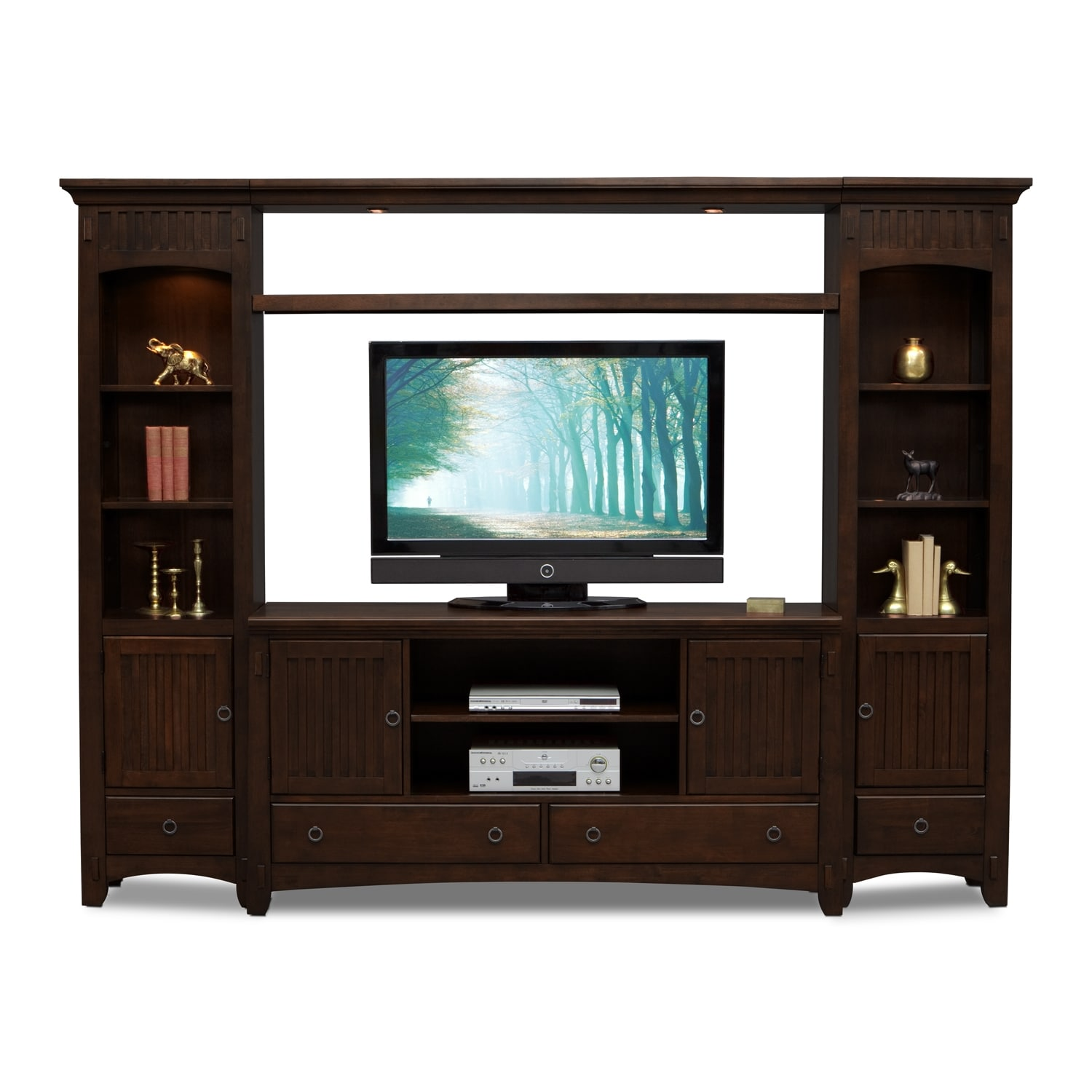 Arts Crafts 4 Piece Entertainment Wall Unit Chocolate